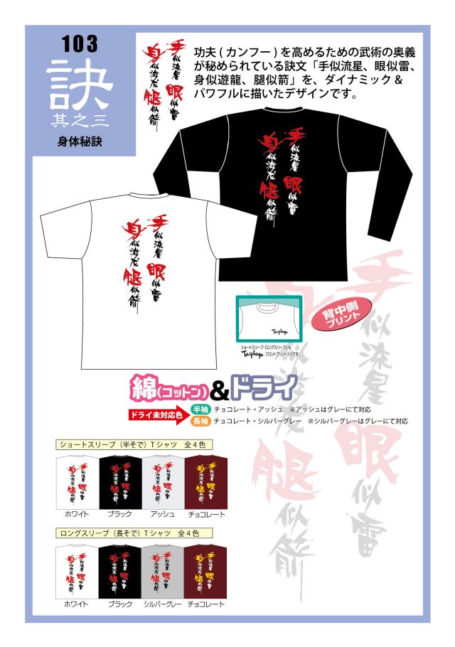 TaijilogoオリジナルTシャツ103 「身体秘訣」